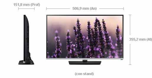 Televisión barata Samsung UE22H5000AW LED de 22 pulgadas de menos de 200 euros dimensiones
